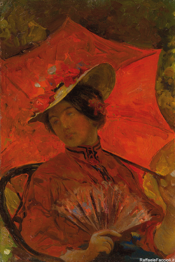 Signora con ombrellino rosso