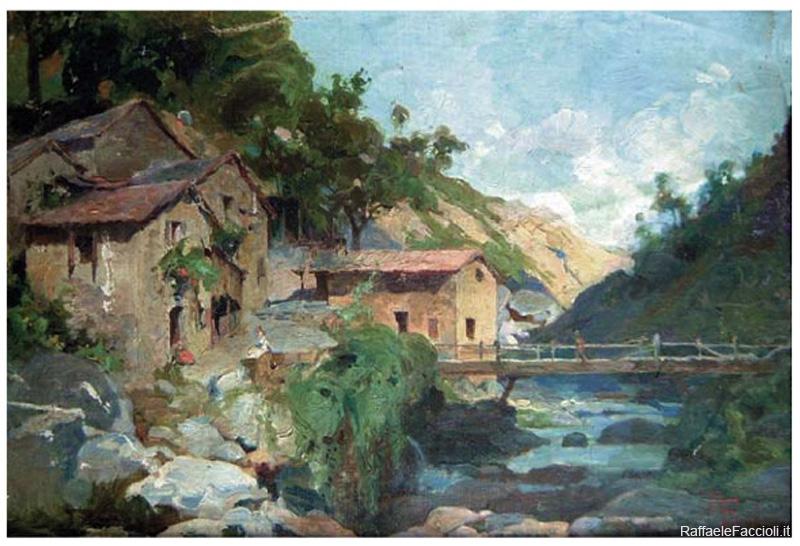 Il mulino di Igea (studio del borgo con ponte di legno)